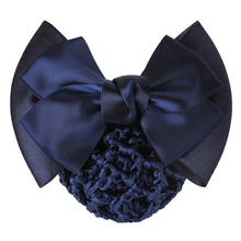 1 PC Sweet Girl Satin Bow Barrette Lady Hair Clip Cover Bowknot Bun Snood Women Hair Accessories QLM