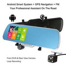 "Car Camera Recorder Rearview Mirror DVR 5"" 1080P Android Smart System GPS Navigation Dual Lens Front Rear Detection Night Vision"