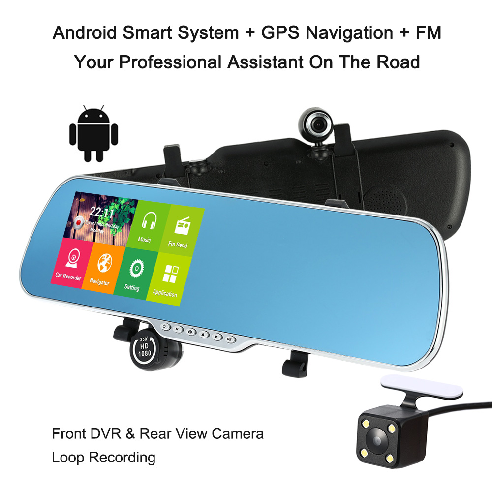 "Car Camera Recorder Rearview Mirror DVR 5"" 1080P Android Smart System GPS Navigation Dual Lens Front Rear Detection Night Vision(China (Mainland))"