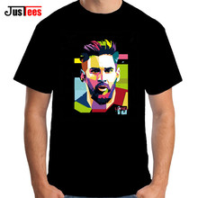 2017 Lionel Messi Shirts Barcelona Men's Short sleeve Messi T-shirts 100% cotton tshirt Tops Argentina jersey for fans tee shirt