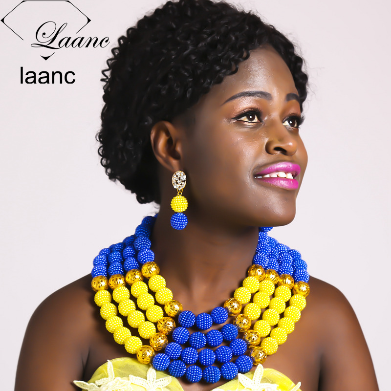 Laanc Nigerian Wedding African Beads Jewelry Set Simulated Pearl Necklace Sets for Women AL418