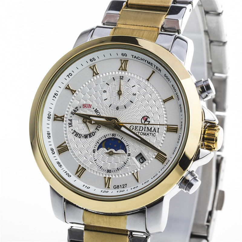 relogio masculino GEDIMAI Mens Watches Top Brand Luxury Skeleton Clock Men Casual Stainless Steel Mechanical Watch <br>