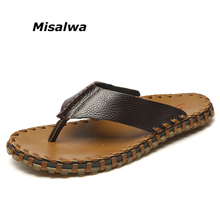 Misalwa 100% Genuine Leather Men's flip-flops Handmade Fashion Summer Beach Sandals Slippers Size 35-45 Hot Sell(China)