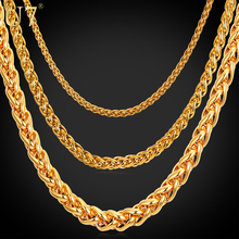 U7 Stainless Steel Rope Chain For Men 46cm/55cm/66cm/71cm/76cm 3mm/6mm/9mm Gold/Black Color Twisted Necklace Mens Jewelry N571