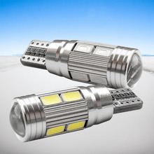 2 X T10 LED W5W Car LED Auto Lamp 12V Light bulbs with Projector Lens for ford focus 2 3 fiesta mondeo ecosport kuga drl(China)