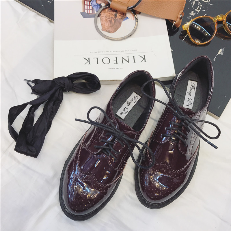 Pu leather flat shoes women handmade Black blue white 2017 sping vintage British style Bullock oxford shoes for women<br><br>Aliexpress