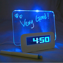 Blue LED Fluorescent Projection with Backlight Digital Alarm Clock with Message Board USB 4 Port Hub