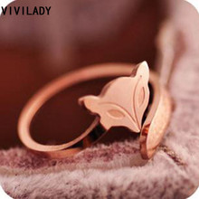 VIVILADY Fashion Rose Gold Color Fox Rings Stainless Steel Material No Color Fade Top Quality Free Shipping Jewelry Aneis Gifts(China)