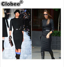 New Stand-Up Collar 3/4 Sleeve Slim Fit Belted Pencil Dress Sashes Skinny Slim Bodycon Victoria Beckham Dresses(China)