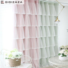 Princess cake lace double curtain ivory pink color cloth curtain+voile sheer black out fabric bedroom custom cortinas window(China)