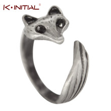 Kinitial 1Pcs Antique Silver Anel Fox Ring Antique Fox BFF Ring Everyday Animal Vintage Rings For Men Women Adjustable Gift