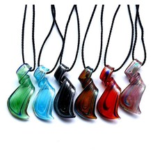 2015 New 6 color Glass Jewelry Distorted fringe Lampwork Murano Glass Pendant Necklace For Women Colorful Jewelry  Free Shipping