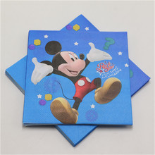 mickey mouse 20pcs/lot paper napkins Handkerchief happy birthday theme paper towel tissue for kids baby shower party decor