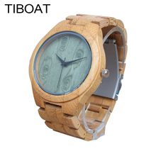 TIBOAT M14Z Green Wood Dial Watch With Full Bamboo Wooden Watch Men's Top Brand Luxury Mens Watches With Gift Box montre homme