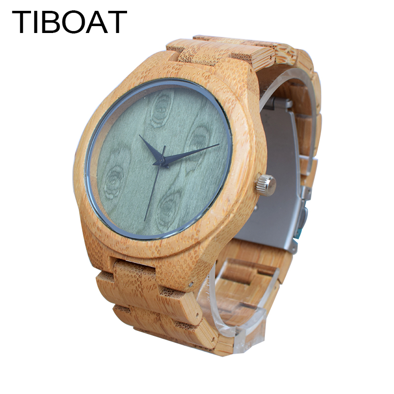 TIBOAT M14Z Green Wood Dial Watch With Full Bamboo Wooden Watch Mens Top Brand Luxury Mens Watches With Gift Box montre homme<br>