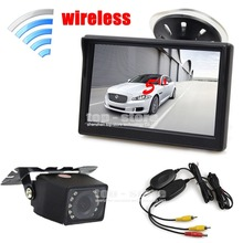 DIYKIT Wireless 5 inch TFT LCD Car Monitor Suction Cup and Bracket + IR Night Vision Rear View Camera Parking System