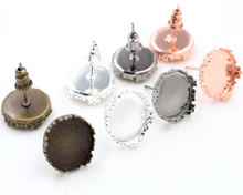12mm 10pcs 4 Fashion Colors Plated Earring Studs,Earrings Blank/Base,Fit 12mm Glass Cabochons,Buttons;Earring Bezels(China)