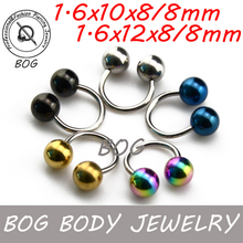 BOG- Lot 5 Pieces Circular Horseshoe Barbell With Anodzed 8mm Ball Lip Tragus Septum Nipple Ring 14g