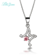 l&zuan 925 Fashion Sterling Silver 0.48ct Pink Gemstones Pendants Necklaces Jewelry Letter M Charm Pendant For Woman(China)