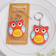 "20pcs/Lot+Cheap Wedding Favors""HOO-ray!"" Rubber Owl Key Chain+FREE SHIPPING"