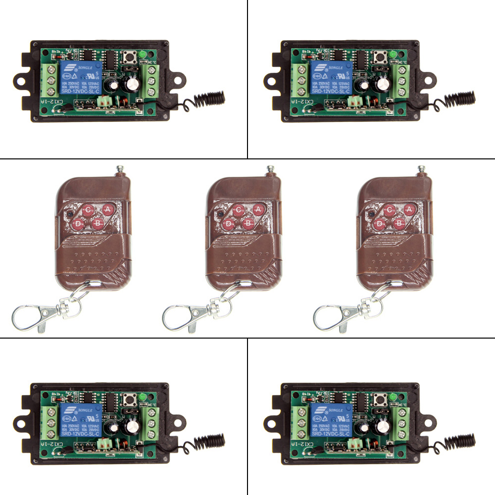 DC 9V 12V 24V 1 CH 1CH RF Wireless Remote Control Switch System,315/433.92, 3 X 4CH Transmitter + 4X Receivers,Momentary/Toggle<br><br>Aliexpress