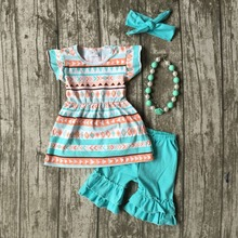 baby girls summer outfits kids Azect top clothes top with blue ruffle shorts boutiques clothes with necklace and headband(China)