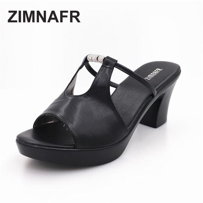 ZIMNAFR BRNAD 2017 SUMMER FASHION COOL SLIPPERS LADYS FISH MOUTH  GENUINE LEATHER SANDALS WOMEN FASHION PLUS SIZE 35-42 SLIPPERS<br>