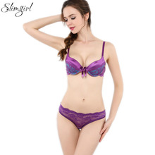 Buy Slimgirl Women's Lace Bra Set Push Underwire Padded Bra & Brief Sets Lingerie Panty Big Size B C Cup Underwear 34-42