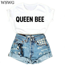 2017 Summer Women New Pink Tshirt Queen Bee Letters Print Cotton Casual Funny Shirt For Man Lady New Top Tee Hipster 60834