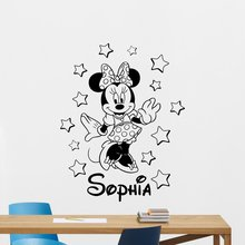 Personalized Minnie Mouse Wall Decal Girl Custom Name Mickey Mouse Cartoons Vinyl Sticker Baby Girl Boy Kids Room Wall Sticker