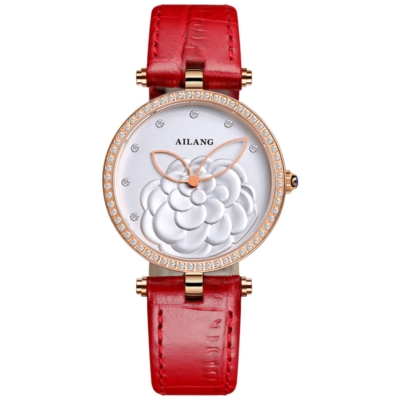AILANG luxury womens wristwatches genuine leather quartz ladies watches 30m waterproof diamond Flowers fashion woman clocks red<br>