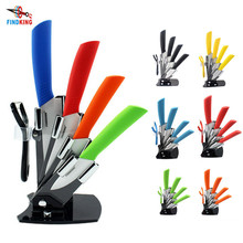 FINDKING Brand High Quality kitchen knives 3 inch+4 inch+5 inch+6 inch+peeler+acrylic knife block holder 6 pcs ceramic knife set