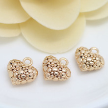 DIY Jewelry Charms Pendant Metal Beaded Material Wholesale Brass kc Gold Hollow Small Peach Heart-shaped Love Pendant