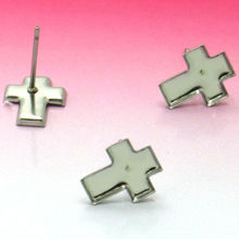 20X, Stainless steel Stud Earring 8.5*1.05mm with cross Bezel Setting Tray for Cameo Cabochons Jewelry accessories wholesale(China)