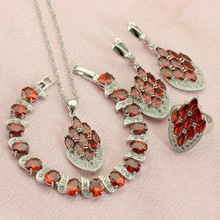 WPAITKYS Pomegranate Red Crystal Silver Color Jewelry Sets For Women Drop Earrings Bracelet Necklace Pendant Ring Free Gift Box(China)