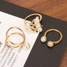 New Fashion3 PCS/Set Big Simulated Pearl Gold Rings Set Star Kunckle Rings Finger Rings For Women Wedding Jewelry Accessories