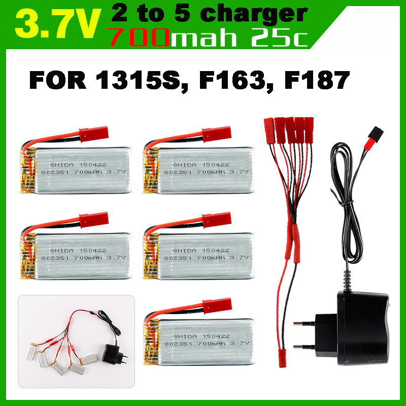 700MAH 3.7V Lipo Battery with 5pcs in JST 2 to 5 Battery Charger for SkyHawkeye 1315S F163 F187<br><br>Aliexpress