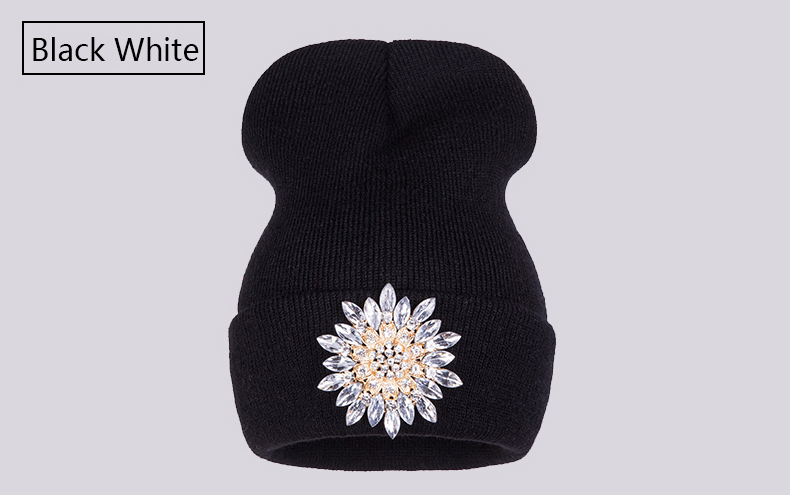 Ralferty 2018 Winter Hats For Women Knitted Luxury Flower Crystal Beanies Hat Female Skullies Caps Black Streetwear Gorras Gorro 7