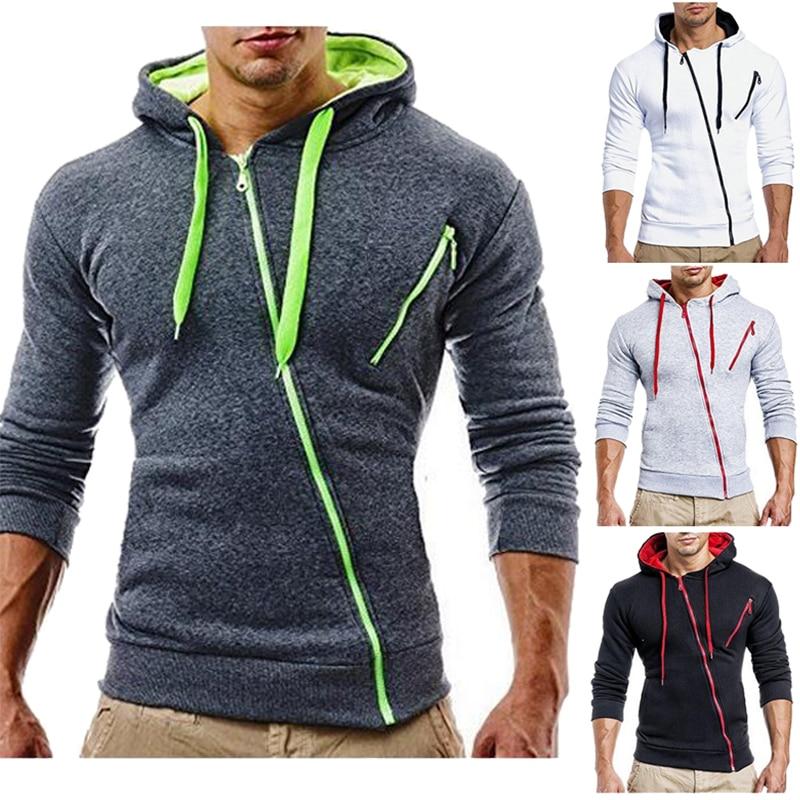 New Men Casual Hoodie Oblique Zipper Sweatshirt Male Hoody S Jacket Plain Color