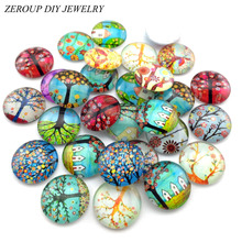 ZEROUP Glass Cabochon 12mm 10mm Mixed Round Photo Cameo Cabochon Setting Supplies for Jewelry Accessories Handmade Pattern 50pcs