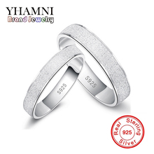 YHAMNI Fashion Frosted Couple Rings Real 925 Sterling Silver Wedding Rings for Women and Men 1 Pair Engagement Ring Set Jewelry(China)