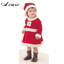 2017 Children Christmas Clothing Set 12M-3T Toddler Baby Boys Girls Xmas Suit and Dress Santa Claus Costumes Red Warm Clothes(China)