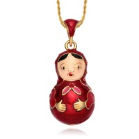 Find all china products on sale from tf collections on aliexpress hottest jewelry enamel handmade russian style matryoshka doll brass faberge egg pendant charm crystal necklace gift aloadofball Images