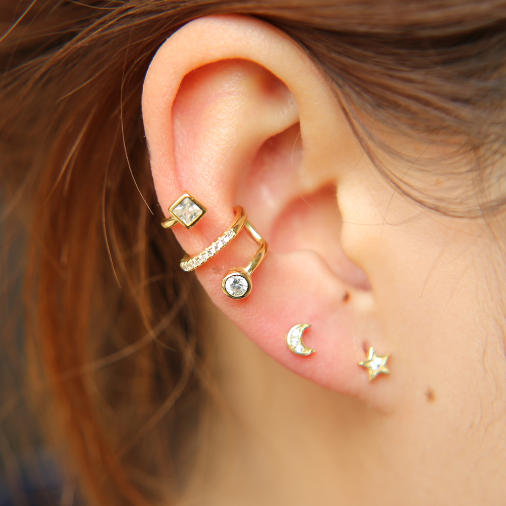 925 Sterling Silver AAA Zircon Asymmetric Dinosaur Earrings