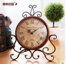 American retro, wrought iron clock, creative living room furniture desktop furnishing articles, rural character clock.