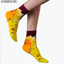 New Arrival Van Gogh Paiting Mona Lisa Pattern Socks Fashion Women Sock Hot Sale Linda Cotton Funny Casual Famous Art Sock W029(China)