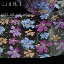 More Than 250 Design Beautiful Designed Nail Art Product Nail Glue transfer Foil Beautiful Flower Purple Orange GL30