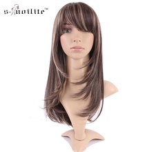 SNOILITE Party Daily Full Wigs Synthetic Streak Dark Brown Blonde None Lace Wig Women Curly Natural Dress Cosplay Wear(China)