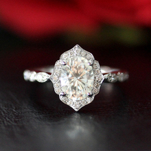 Vintage 1.00ct 7*5mm Oval Cut Moissanite Engagement Ring Solid 14K White Gold Fine Ring Jewelry For Her(China)