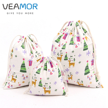 VEAMOR Candy Gift Bags for Children Christmas Trees Deer Cotton Beam Port Drawstring Bags Handmade Jewelry Bags 3pcs/set WB204